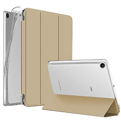 """NewTop Cover Compatibile per Huawei Mediapad M5 da 10.8"""", Custodia Flip Ori Case Ultra Sottile Leggera Stand Supporto Protettiva TPU e Simil Pelle (Oro)"""