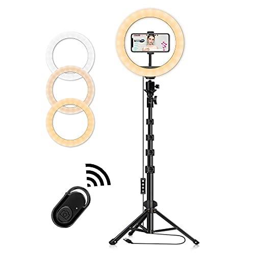 """Lipop Ringlicht mit Stativ, 10"""" Faltbar LED Selfie Ringlicht mit Telefonhalter für Live-Streaming, Make-up, YouTube-Video, Selfie, 3 Lichtmodi und 10 Helligkeitsstufen, 1.6M"""