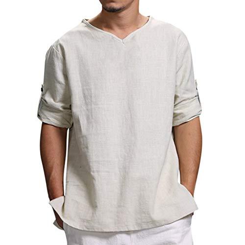Camiseta para Hombre,Verano Algodón y Lino Manga Corta Color sólido Moda Casual Suelto T-Shirt Blusas Camisas Camiseta Cuello en v Suave básica Camiseta Top vpass