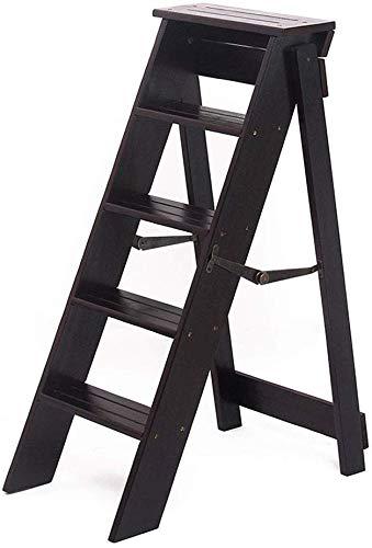 QTQZDD 5-staps ladder massief hout multifunctioneel klapstoel dikke huishoudladder lichtgewicht tuingereedschap draagbaar trapladder max. belasting 120 kg (2 kleuren) 2 2