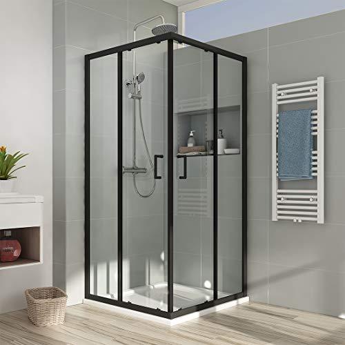 EMKE Eckeinstieg Duschkabine 90 x 90 cm Schwarz Rahmen Duschabtrennung Doppel Schiebetür Duschtür Duschwand Mit Nano-Beschichtung Höhe 190cm
