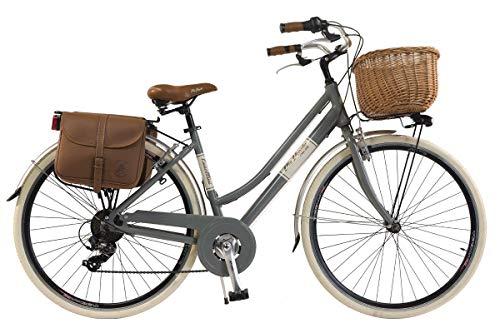 Via Veneto By Canellini Fahrrad Rad Citybike CTB Frau Vintage Retro Via Veneto Alluminium (Grau, 50)