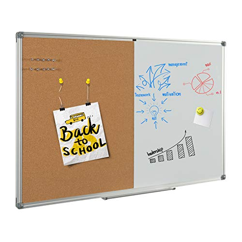 """4 Thought Magnetic Dry Erase and Cork Bulletin Board Combination, 48'' X 36"""" Magnetic Whiteboard & Cork Board Combo with Aluminum Frame, 10 Push Pins and Marker Tray Included"""