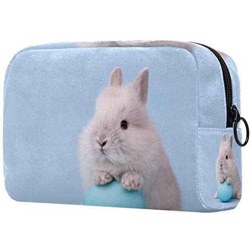 Lapin de Pâques avec œufs peints bleus, sacs de maquillage imprimés, sacs cosmétiques pour femmes