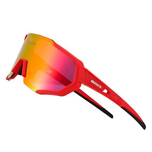 BRZSACR Occhiali Ciclismo Polarizzati Anti-UV con 3 Lenti intercambiabili ,Per il ciclismo, l'escursionismo, lo sci, la pesca, ecc.Leggero Resistente (Rosso)