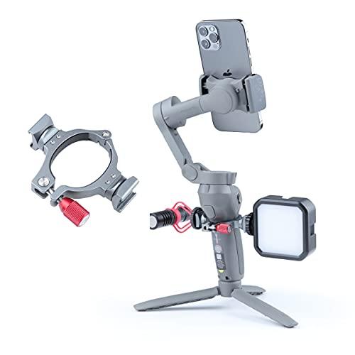 """Adaptateur sabot de flash pour DJI Osmo Mobile 3 OM4, pince à joint torique, se fixe sur 2 supports de chaussures froides et trois raccords filetés 1/4"""" sur les accessoires micro et LED"""