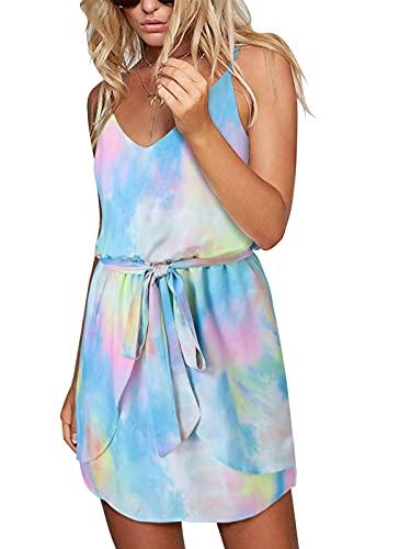 ACHIOOWA Sommerkleid Damen Kurz Batik Tie-Dye Minikleid Elegant Ärmellos Strandkleid Träger Bunt S