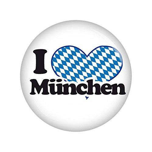 Kiwikatze® Regional - I love München 37mm Button Ansteckbutton Pin Geschenk Mitbringsel Oktoberfest Wiesn Volksfest für Dirndl oder Lederhose