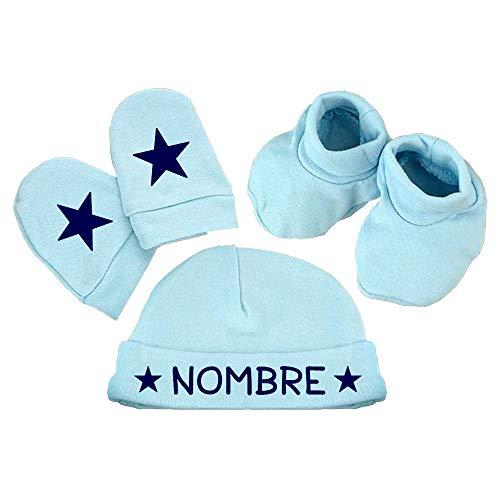 ClickInk Pack gorro, manoplas y patucos bebé. Personalizado con nombre. Regalo bebé. Regalo personalizado. Regalo primera puesta. Prendas de algodón. (Azul)