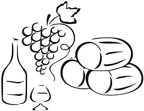 Etiqueta De La Pared Botella De Uva Copa De Vino Bosquejo Cocina Comedor Diy Arte De Vinilo Desmontable Dormitorio De Los Niños Decoración Del Hogar 57X44Cm