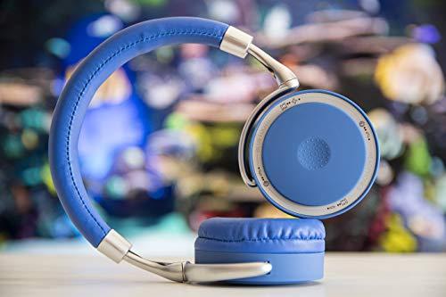 CoolBox CoolSkin – Auriculares bluetooth inalámbricos y alámbricos para smartphone o Tablet de tipo diadema, binaural, circumaural, 20-20000 Hz. Colores azul y plateado