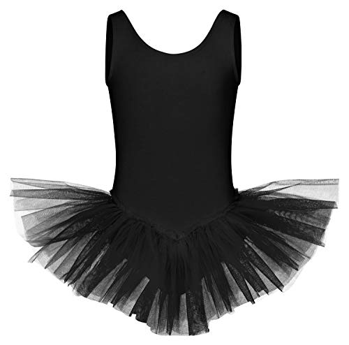 tanzmuster ® Ballettkleid Mädchen Tutu - Anabelle - aus weichem Baumwollmaterial Ballett Trikot mit Tuturock in schwarz, Größe:164/170
