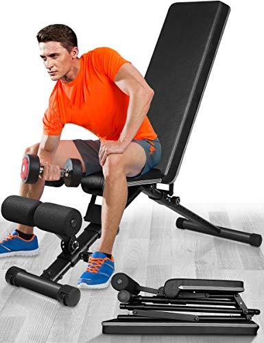Banco de Pesas, 440 libras de Capacidad Plegable Musculacion Press Banco Abdominales Multifuncion Gimnasio Maquinas