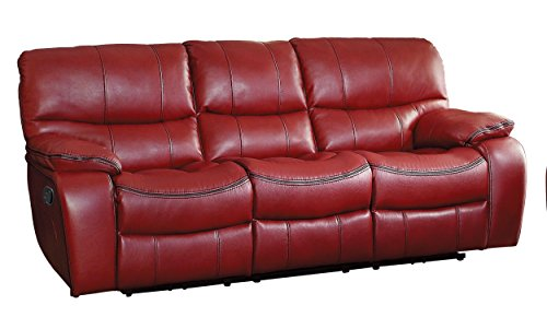 Homelegance Pecos Leather Gel Manual Double Reclining Sofa, Red