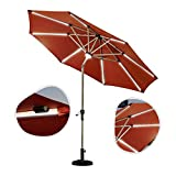 Aly Ombrellone Ø270cm Parasole con Luci A Solare LED Patio Esterno Giardino con Regolazione Dell'inclinazione E Sollevamento della Pedivella