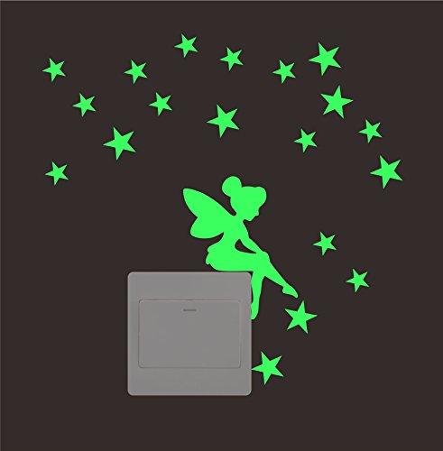ufengke Fata Stelle Interruttore Adesivi Murali Fluorescenza Bagliore nel Buio, Camera da Letto Soggiorno Adesivi da Parete Removibili Stickers Murali Decorazione Murale
