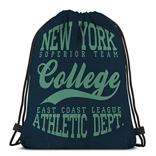 Cordon Sac à Dos Sac à Cordon Serrage new york college vintage denim typographie grunge vêtements de sport Sac de Sport 36X43CM