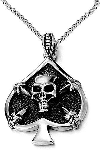 Collar con colgante de calavera de garra de espada de acero inoxidable con cadena de bolas de 30 pulgadas Motorista gótico