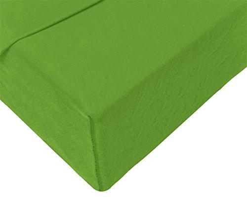 Double Jersey – Spannbettlaken 100% Baumwolle Jersey-Stretch bettlaken, Ultra Weich und Bügelfrei mit bis zu 30cm Stehghöhe, 160x200x30 Grün - 4