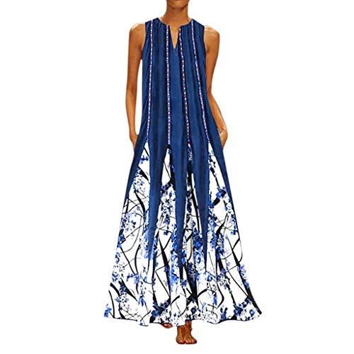 HIRIRI Plus Size Women Vintage V Neck Long Dress Floral Printed Sleeveless Bohemian Patchwork Maxi Dress White