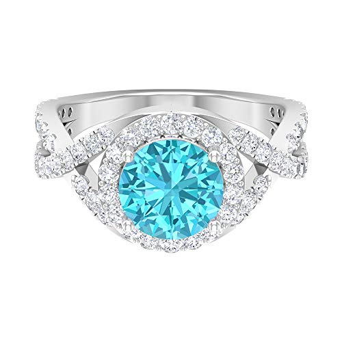3.11 CT Swiss Blue Topaz Ring, D-VSSI Moissanite Halo Ring, 8 MM Round Cut Ring, Crossover Engagement Ring, Solitaire Ring With Side Stone, 18K White Gold, Size:UK W