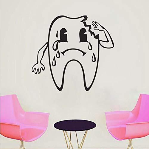 Ajcwhml Gebrochener Zahn Mit Tränen Wandaufkleber Für Kinder Zahnklinik Hintergrund Kunst Dekoration Vinyl Wasserdichte Wandbilder 42 * 48 Cm