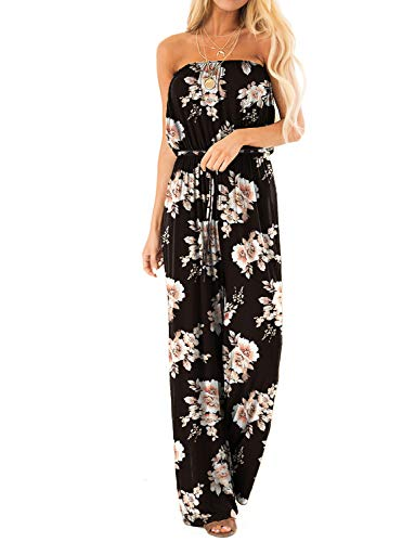 SENFURE Women's Off Shoulder Jumpsuits Summer Strapless Elastic Waist Wide Leg Casual Romper with Two Pockets (blackfloral, Large)