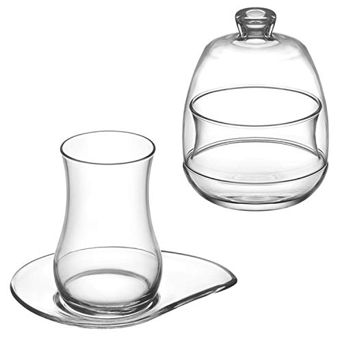 Kaiser-Handel.de Juego de 13 vasos de té Cay Bardaklari de Turquía, 6 vasos, 6 platillos y 1 azucarero Evas1