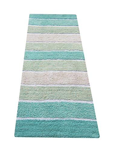 Chardin home Cordural Stripe Bath Rug Runner with Skid Resistant Latex Spray Underneath. Turquoise, 24' W x 60'' L