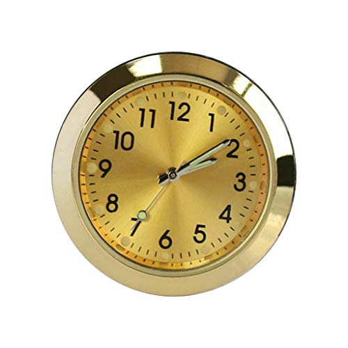 FLAMEER Car Dashboard Clock Fragrance TQuartz Clock with Luminous Light Classy Decor - Golden, 36X14mm