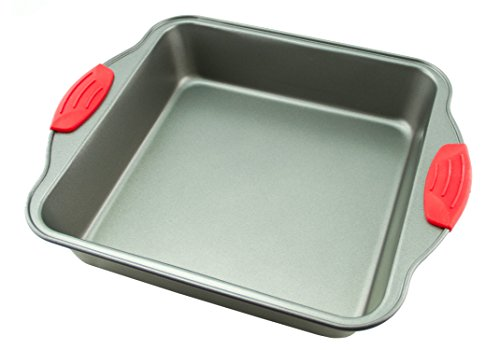 "Cake Pan | Non-Stick Steel 8-Inch Square Baking Pan by Boxiki Kitchen | Durable, Convenient, Premium Quality No-Stick Baking Mold Cookware | Brownie Pan 8"" x 8"" x 2"""