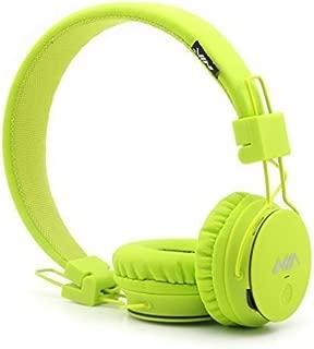 Kids Wireless Bluetooth 4.2 Headphones, GranVela X2 Lightweight Retro Foldable Multifunction Headphones with FM Radio, TF Card Mp3 Player and Microphone (Lemon Green)