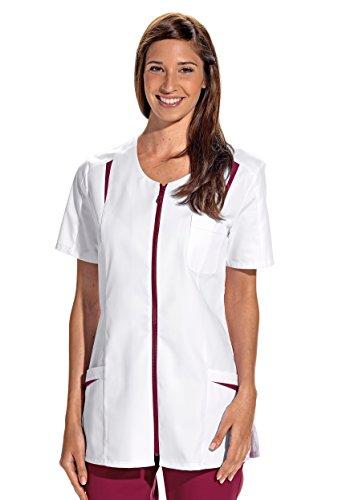clinicfashion 10112065 Kurzkasack weiß/Beere für Damen, Mischgewebe, Größe 46