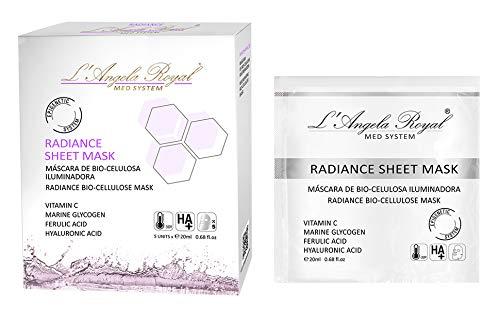 L'Angela Royal Mascarilla Iluminadora Radiance Sheet Mask, Mascarilla Facial BIO-Celulosa, Vitamina C, Ácido Hialurónico, Retrasa la Formación de las Arrugas para la cara, 5uds.