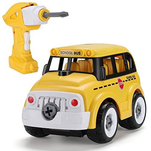 Hautton Desarmar Juguete DIY Autobús Escolar de Control Remoto con Taladro Eléctrico, Juguetes de Aprendizaje de Construcción Stem para Niños Regalo para Niños Niñas de 3 a 7 Años