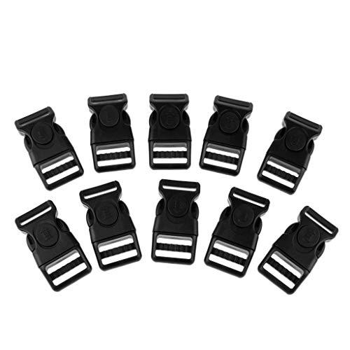 Baoblaze 10pcs Plastique Boucle à Libération Latérale pour Bracelet Paracorde, Sac à Dos - Noir, 20mm