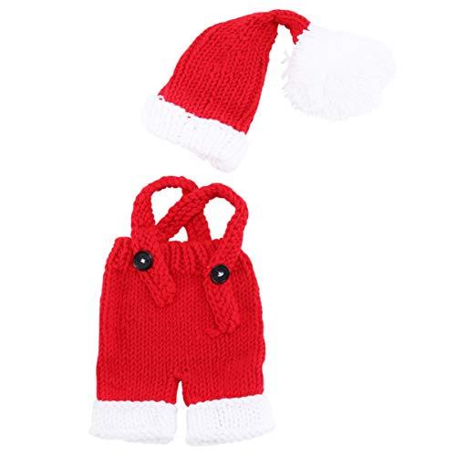 Amosfun 1 juego de disfraz de Papá Noel de Navidad, gorro de Navidad, ropa de Papá Noel, trajes de punto de ganchillo, accesorios de fotografía para niños recién nacidos de 0 a 1 año (rojo)