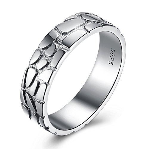 Yazilind Mode 925 Sterling Silber Mode WM Fußball Muster Ringe Hochzeit Promise Eternity Party Ring Größe 18.1