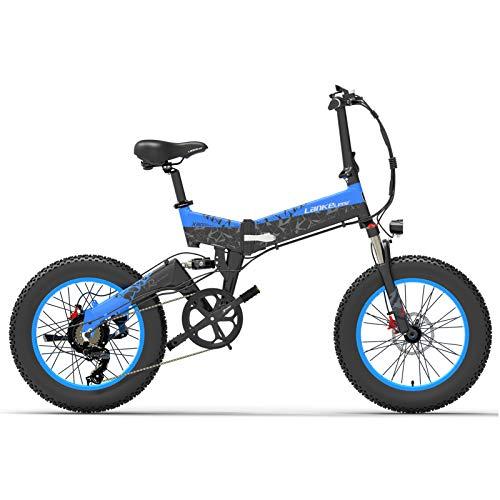 Lixada Bicicleta Eléctrica Deportiva Plegable de Asistencia Eléctrica de 1000 W y 20 Pulgadas,Bicicleta Eléctrica con Neumáticos de Grasa de 4,0 Pulgadas,Batería de 10,4 Ah,Rango de 90 km