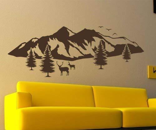 Wandtattoo Berge Skyline Schnee Alpen Tanne Elch Aufkleber Berg Landschaft 1M208, Farbe:Schwarz Matt;Größe (Länge):140 cm