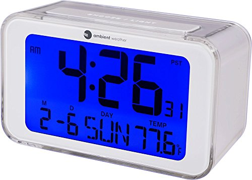 Ambient Weather RC-8320 Self Setting Digital Alarm Clock with Radio Controlled Time