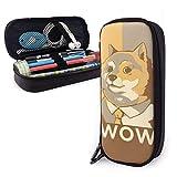 Wow Doge Estuche para lápices Bolsa de lápices de gran capacidad Estuche para lápices de maquillaje Papelería duradera para estudiantes con soporte para bolígrafo con doble cremallera
