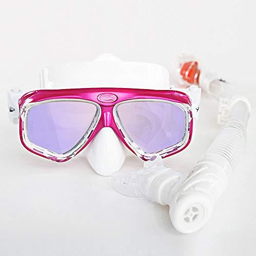 Máscara de Snorkel Plegable, antivaho Snorkel máscara Resistente al Impacto Vidrio Templado panorámico, Libre de respiración Anti-Fuga de Snorkel Superior Seca,Red