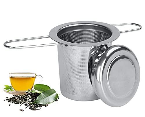 Filtro para té Reutilizable Colador de té de Acero Inoxidable Infusor de té y Tapa Asa Plegable Malla Fina Infusor Tetera para Tazas Tazas y Ollas de Cereales a Granel