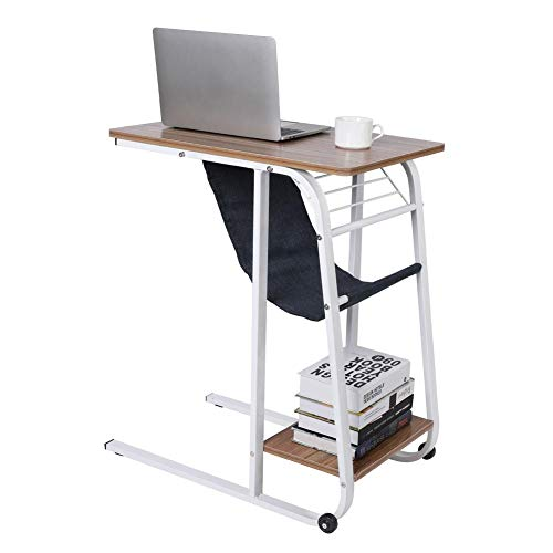 Overbed Table,C-Shaped Laptop Desk Stand Small Sofa Side End Bedside Table Rolling Mobile Computer Desk Coffee Table with Metal Frame and Storage Bag for Bedroom Living Room Balcony Office(#3)
