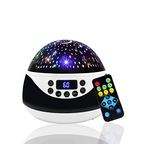 Baby Night Light Projector Bedroom,Gifts for 1-14 Year Old Girl and Boy,My Baby Sound Machine Help Sleep Stars and Moon can Make Child Sleep Peacefully - Best Gift for Kids - Black