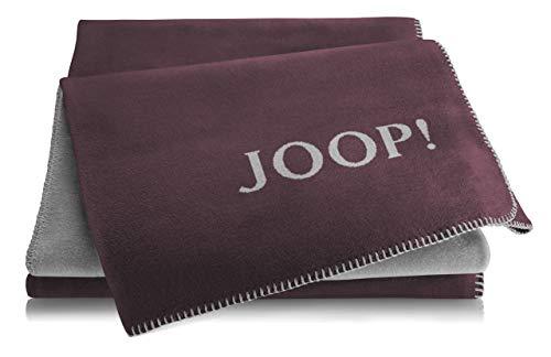 Joop!® Uni-Doubleface I flauschig-weiche Kuscheldecke Bordeaux-Graphit I Wohndecke aus Baumwolle & Dralon® in dunkelrot I Tagesdecke 150x200cm | nachhaltig produziert in DE I Öko-Tex Standard 100