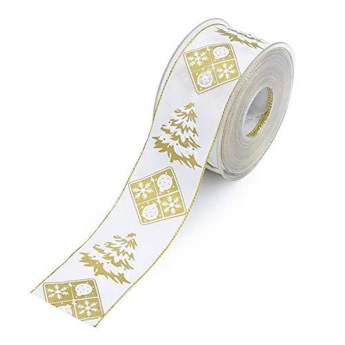 Craft Ribbon Fiesta de boda Decoración Cinta Raso Envoltura de Flores DIY Manualidades Grosgrain Ribbon Regalo Cintas de Cinta de navidad 10m-Arbol de Navidad