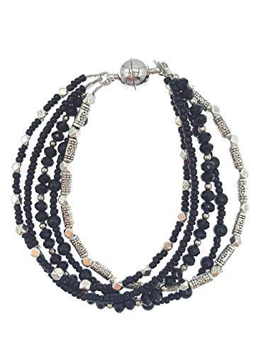 5 hebras de 4 mm de ónix negro con cristales de plata envejecida pulsera de cuentas con cierre magnético para mujeres y niñas 19 cm