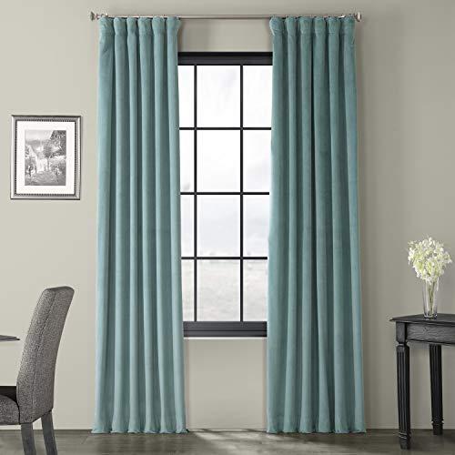 HPD Half Price Drapes VPCH-140803-96 Signature Blackout Velvet Curtain (1 Panel), 50 X 96, Aqua Mist